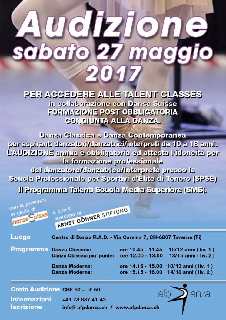 Audizione Danse Suisse Talent Classes 2017